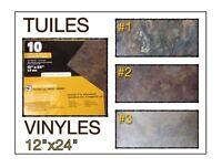 (441-6)  LIQUIDATION..  PLANCHERS TUILES DE VINYLE 0.59$ /P.C