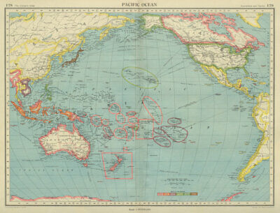 PACIFIC OCEAN showing British French Dutch US territory. US Philippines 1947 map