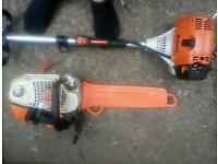 Stihl hl95 long reach hedge trimmer and 201 t top handle saw