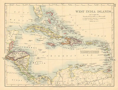 WEST INDIA ISLANDS Caribbean Lucayas Caribbee Cuba JOHNSTON 1892 old map