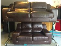 Brown Italian leather suite (Delivery Included)
