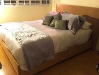 Suede bed frame including mattress queen