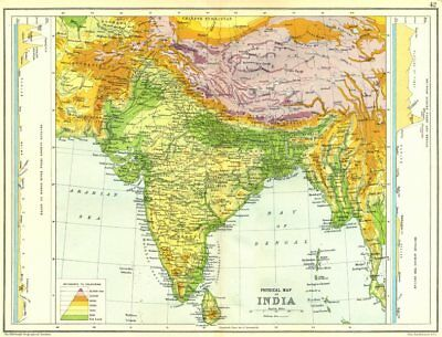 INDIA PHYSICAL.With Sections N-S ;across Tibet-Bengal & Deccan 1909 old map