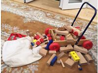 Large Collection of Wooden Bricks and Push along Toy