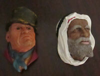 2 vintage Chalkware wall hanging heads