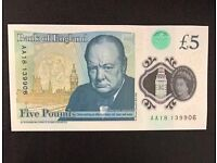 AA18 £5 (Genuine) Bank of England Note