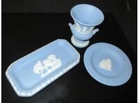 3 Wedgwood collectibles, two small plates. One vase.