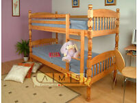 BRAND NEW SINGLE DOUBLE DECKER BRAZILIAN PINE WOODEN BUNK BED FRAME WITH MATTRESSES EXPRESS DELIVERY