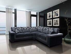 Large black corner sofa new in wrapper