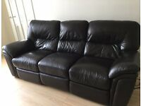 Brown leather 3+2 electric reclining sofas