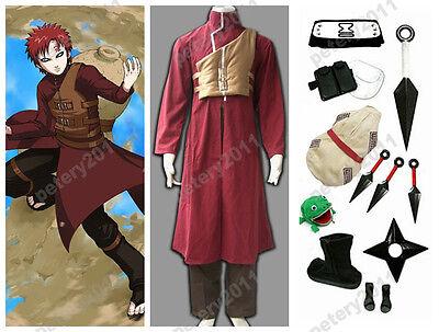 Naruto Shippuuden Gaara 2nd Children Cosplay Party Costume Red Set Custom-made - Naruto Kid