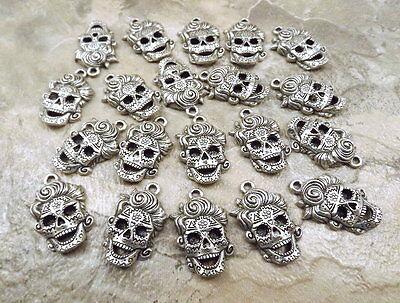 Sugar Skull Female (20 Pewter Female Sugar Skull Charms -)