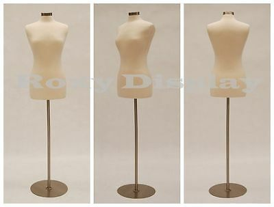 Size 6-8 Female Mannequin Dress Form Fwp-wbs-04 Chrome Metal Round Base