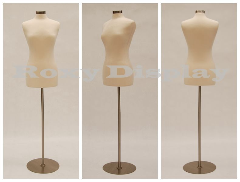 Size 6-8 Female Mannequin Dress Form  FWP-W+BS-04 Chrome Metal Round Base