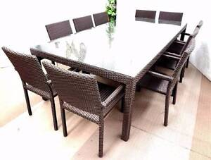 Outdoor Dining Table 11pc Arm Chairs/Seating Cushion/Aluminium Berwick Casey Area Preview