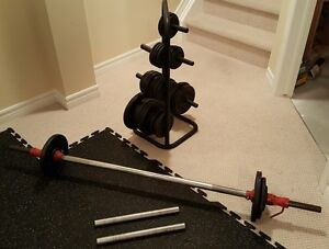 Weight and Weight Rack, Dumbbells and Barbell