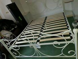 Double White Metal Bed Frame with Crystal Bedknobs
