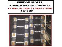 Hexagonal Iron Dumbbells 2 X 10KG, 2 X 12.5KG, 2 X 15KG, 2 X 17.5KG 4 SETS