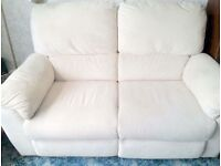 ELECTRIC RECLINER CREAM FABRIC SOFA & CHAIR plus FOOTSTOOL WITH STORAGE