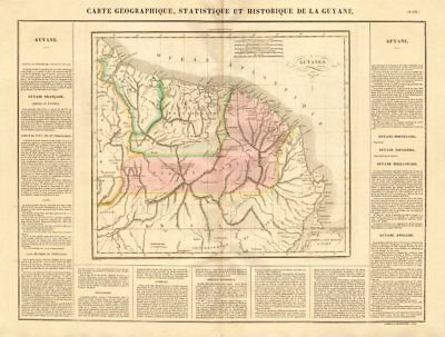 'Guyane française, hollandaise et anglaise'. Guiane Suriname. BUCHON 1825 map