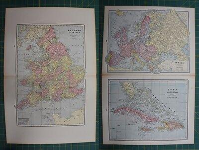 England Wales Europe Cuba Vintage Original 1895 Werner Company Atlas Map Lot