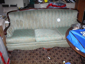 NICE USED GREEN BROCADE FRENCH PROVINCIAL CHESTERFIELD