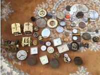 Large collection of antique clock and pocket watch spares