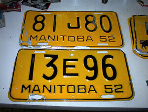 5 1952 MANITOBA LICENCE PLATES AND 1957  TAG $8.00 EACH