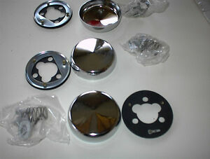 3 NEW CUSTOM 3 BOLT STEERING WHEEL REPL CHROME HORN BUTTONS $10E