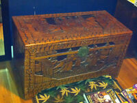 Hand Carved Antique Wood Oriental Hope Chest Hutch