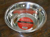 NEW 5 QUART STAINLESS-STEEL DOG DISH