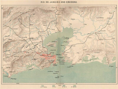 Rio de Janeiro and environs. Brazil 1885 old antique vintage map plan chart