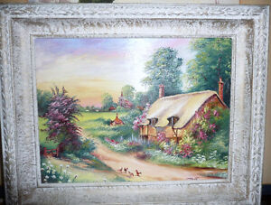 "Original Oil Painting ""Cottage Near A Village"""
