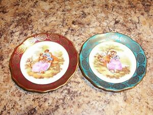 "SET of Limoges France Miniature Plate 4"" Victorian Couple"