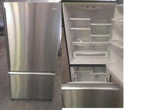 Refrigerator Stainless Bottom Freezer Fridge Durham Appliances