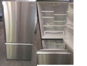 Refrigerator Stainless Bottom Freezer Fridge Durham Appliances