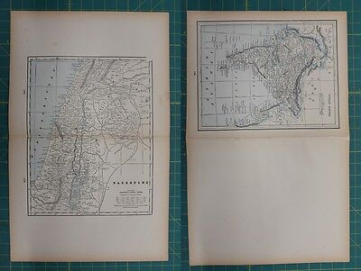 Palestine Indian Empire Vintage Original 1893 Columbian World Fair Atlas Map Lot