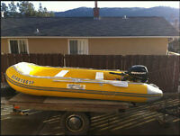 "12'6"" Yellow/Gray Zodiac with 20hp Mercury Motor and flatbed"