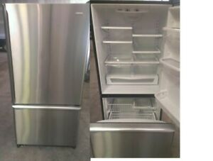 Refrigerator Bottom Freezer Stainless DURHAM APPLIANCES LTD.
