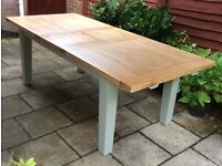 Large Extending Solid Oak Dining Table.