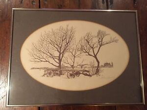 Professionally framed farm sketch, signed by artist Cambridge Kitchener Area image 1