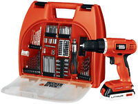 black&decker drill 20 volts lithium (2) batteries neuveeee