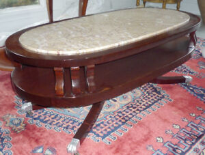 marble top solid wood coffee table