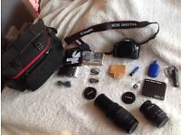CANON 1100D BUNDLE, 2 LENS, BAG, MEM CARD, CHARGER ETC., FANTASTIC CONDITION!!