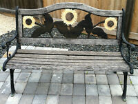 Rustic Wood Bench with Sunflowers