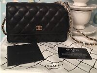 Chanel woc wallet on chain caviar black gold not Hermes Gucci Prada lv