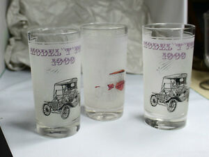 """Model T Ford 1909 & 1910"" Bar Drinking glasses Vintage"
