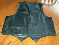 MEN'S CUSTOM MADE BLK LEATHER VEST (LARGE)