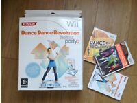 Wii fit dance mat and games