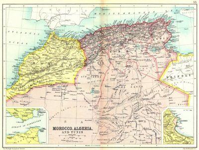 NORTH AFRICA MAHGREB. Morocco Algeria Tunisia; Gibraltar; Algiers 1909 old map